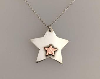 Sterling Silver and copper star pendant