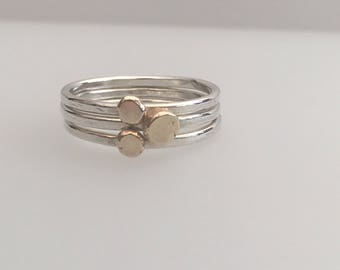 Sterling Silver 3 stacking rings with 9ct gold nuggets