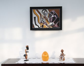framed painting gouache on canvas _personnage music Jazz