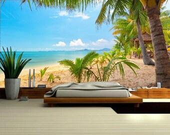 Sea wallpaper, beach wallpaper, sea wall mural, self-adhesive vinly, sea wallpaper, wave wall mural, sun wall mural,  ocean wallpaper