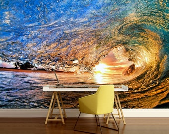 ocean wallpaper, sea wall mural, underwater wall mural, self-adhesive, water wall mural, sun wallpaper, Wave wallpaper, water wallpaper