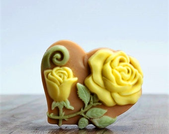 3 Heart Soaps,Rose Soap, Wedding Favor,Valentine's Day Gift,Women Gift,Gigt for Her. 3 Bars of Soap