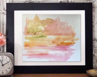 Pink Nursery Art, Watercolor abstract Print, Landscape Watercolor Painting, pink Original painting, Modern Contemporary art
