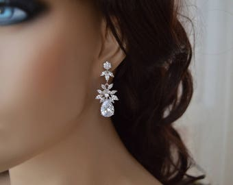 Bridal Earrings, Bridal jewelry, Cubic zirconia Earrings, zirconia jewelry.