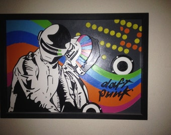 Items similar to daft punk inspired wall mural on etsy for Daft punk mural