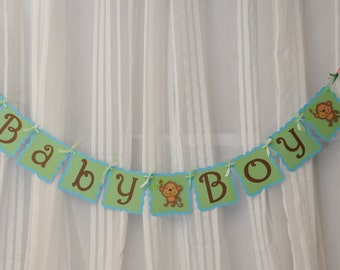 Monkey BABY BOY baby shower Banner Customizable