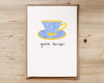Tea-riffic | An Individual Hand Drawn A5 Greetings Card by Poppins & Co