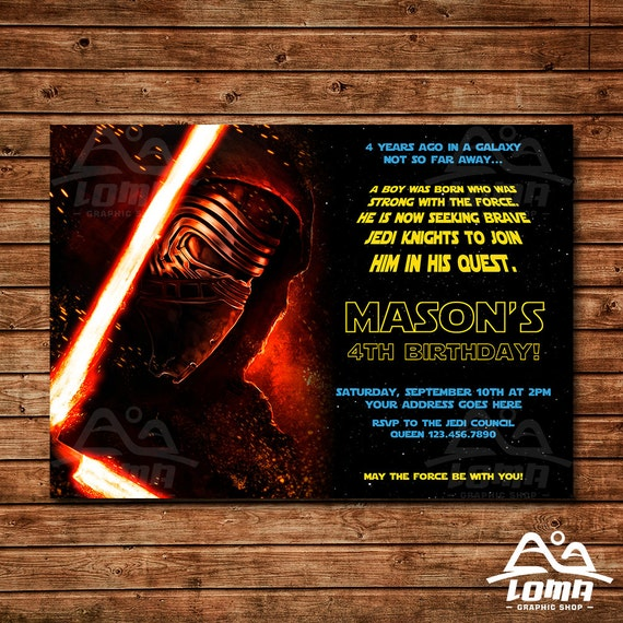 Star Wars Birthday Invitation, Star Wars Birthday, Star Wars Invitation, Kylo Ren Invitation