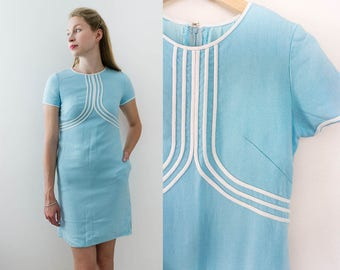 Vintage 70s Light Blue Mod Retro Dress with Pockets and Short Sleeves by Frankie Welch Size S