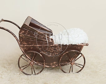 Metal pram newborn photo prop DIGITAL BACKDROP BACKGROUND