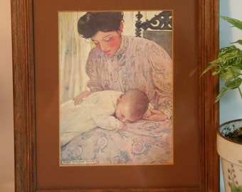 Sale!! Vintage Framed Greeting Card -First the Infant in Its Mother's Arms by Jessie Wilcox Smith-Mother and Child Card Illustration