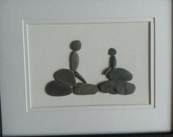 Pebble art. Father - son time. Unique gift for father's,  mothers, grandparents.