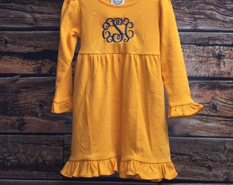Monogrammed Girls Long Sleeve Dress