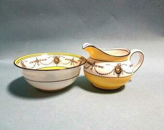 Aynsley Art Deco Sugar Bowl and Creamer
