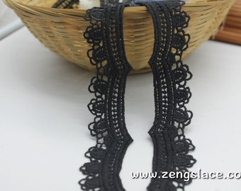 Black Lace/Guipure lace trim with scalloped edge/Lace Choker/Antique Lace/Vintage Lace/Regency Dress/Couture Lace/lace by the yard, VL-12-BL