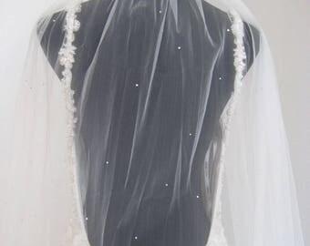 Bridal single tier cathedral veil with swarovski crystals