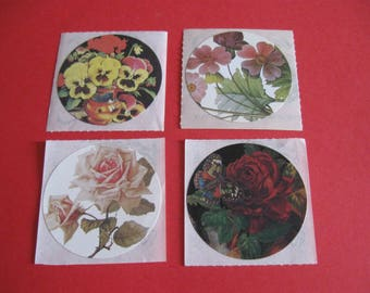 Lot of 4 Brier Rose Victorian floral stickers