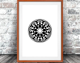 Nine Pointed Star Nonagram Print, 9 of 12, Black and White Art, Minimal Artwork Poster, Home Decor, Digital Download