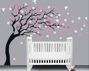 cherry blossom Floral with Flying Birds -cherry blossom wall decal,bedroom wall decal ,tree wall sticker ,baby nursery room wall decal  Hk72