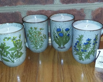 Citrus Herb Mugs Hand Poured Soy Candle (set)
