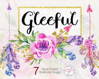 "Watercolor Clipart""Gleeful"" ,Floral Bouquets clipart,Spring,Wedding Clipart,spring flowers,Mother's Day Clipart"
