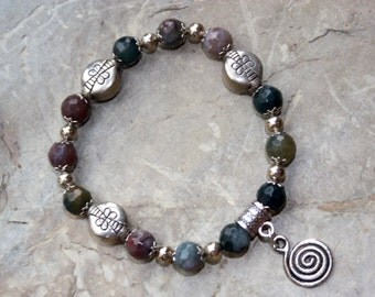 silver plated charm bracelet spiral of life