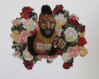 Giclee print of Mr T Loves You! hand embroidery