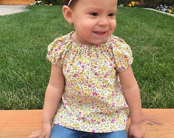 Floral Infant Baby Toddler Peasant top shirt 0-24 months
