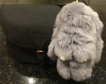 Luxuriously Soft Grey Bunny Handbag Charms/Keychain made from Real Fur