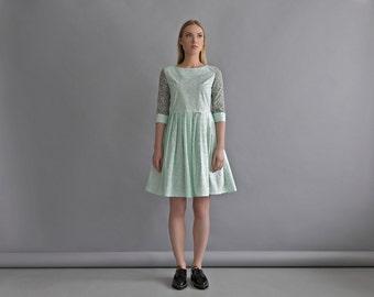 XS SIZE: Women mint dress - Cotton pleated dress - Womens spring dress - Mint green dress - Pregnancy fashion dress - Maternity green dress