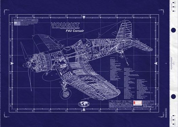 Vought f4u corsair blueprint large engineering drawing wwii for Engineering blueprints