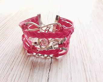 Multirangs cords and half-tone bracelet pink