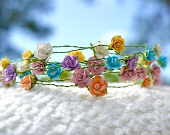 """The """"Prissy"""" Floral Halo Crown // Music Festival Crown, Paper Flowers, Floral Headpiece, Boho Crown, Hippie Crown, Bohemian Style"""