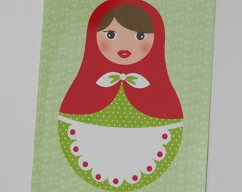 Red matryoshka green notebook