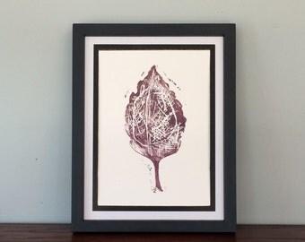 Autumn Lilac Leaf, Contemporary, Small Print, Home Decor, Handmade Original Relief Print