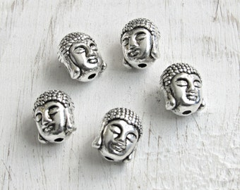 Buddha head beads, set of 5, buddha beads, buddhist beads, silver buddha, Yoga beads, Focal beads, beads for bracelets, mala beads, DIY bead