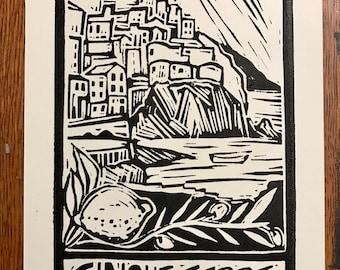 Cinque Terre Linocut Block Print