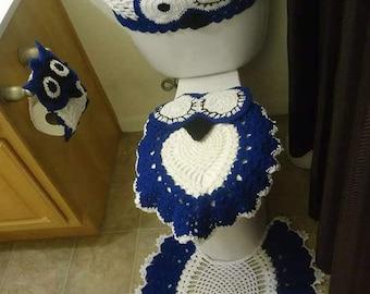 Bathroom Set Decor, Crochet bathroom set , Crochet owl bathroom set,Tank cover, Lid cover, Space rug, tissue paper holder