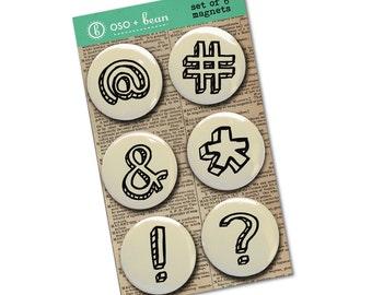 Set of 6 magnets | Punctuation Magnet Set | Funny Magnet Set | Teacher gift | Stocking Stuffer | Hashtag magnet | Gift under 15