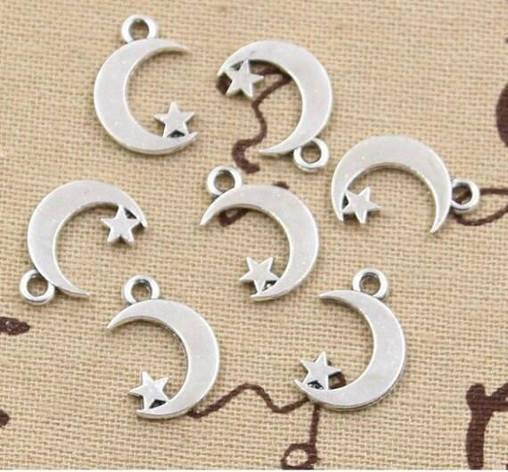 12 pcs stars antique silver pendant jewelry motivation charms Charm Metal lazer Word Bracelet Charms