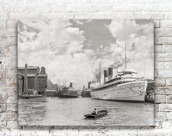 Historic Buffalo NY Photo, Steamships on Buffalo River, New York State, Black White Photography, Wall Art, Poster Art, 1905