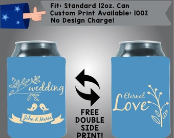 Wedding Birds Names And Love Collapsible Fabric Wedding Cooler Double Side Print (W73)
