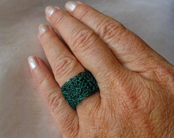 Ring dark green crochet crochet green wire ring crochet Green
