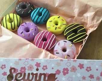 8 handmade polymer clay doughnut pattern weights