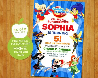 DC Superhero Girls Invitation DC Superhero Girls Birthday Dc - Free birthday invitation templates superhero