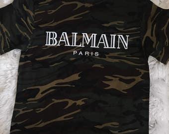 Balmain Paris Camo T shirt Designer