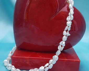 Keshi 7-8 mm Freshwater Pearl Double Strand Necklace