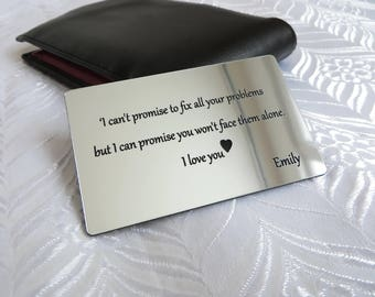 Personalised Wallet Insert Card, Father Gift, Purse Insert, Wedding, Birthday.