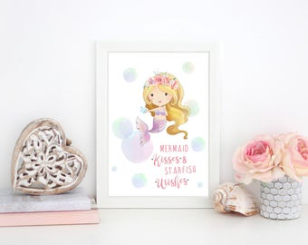 Mermaid Kisses and Starfish Wishes Girls Print- Bedroom/Nursery Print