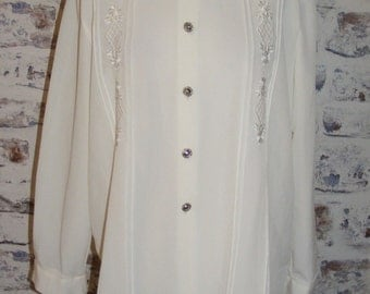 Size 12 oversize long sleeve vintage 80s embroidered blouse ivory (GM54)